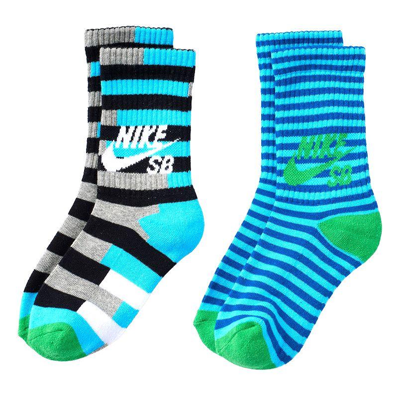 Boys Nike 2-Pack Striped Crew Socks