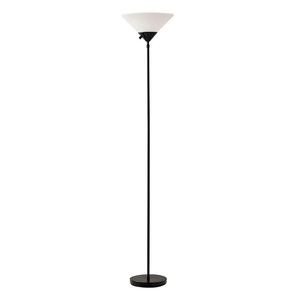 Adesso Pisces Black Torchiere Floor Lamp
