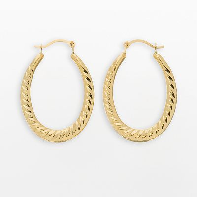 10k Gold Fancy Puffed Hoop Earrings