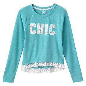 Girls' Plus Size SO® Cozy Lace Ruffle Graphic Print Top