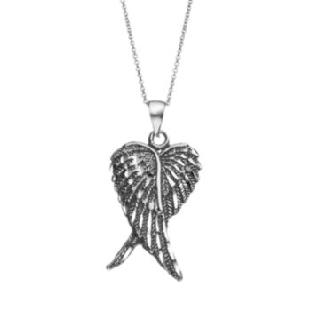 Journee Collection Sterling Silver Angel Wings Pendant Necklace
