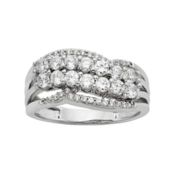 1 Carat T.W. Diamond Sterling Silver Cluster Ring