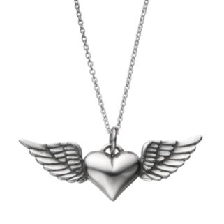 Journee Collection Sterling Silver Heart & Angel Wing Pendant Necklace