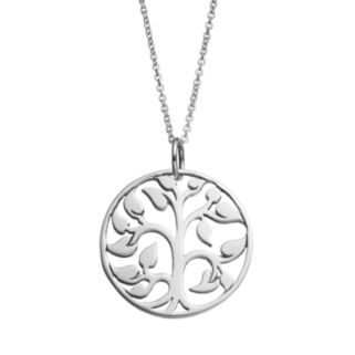 Journee Collection Sterling Silver Tree of Life Pendant Necklace