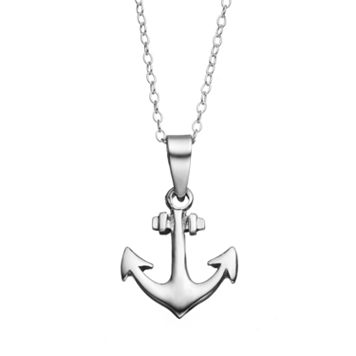 Journee Collection Sterling Silver Anchor Pendant Necklace