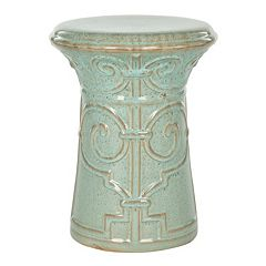 Safavieh Imperial Scroll Aqua Ceramic Garden Stool