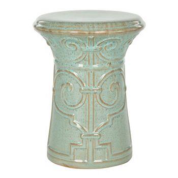 Safavieh Imperial Scroll Aqua Ceramic Garden Stool