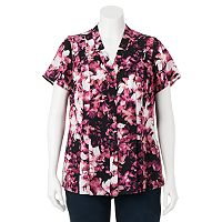 Plus Size Croft & Barrow® Floral Pleated Blouse