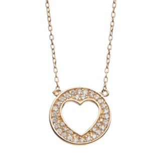 Journee Collection Cubic Zirconia Rose Gold Tone Sterling Silver Heart Disc Necklace