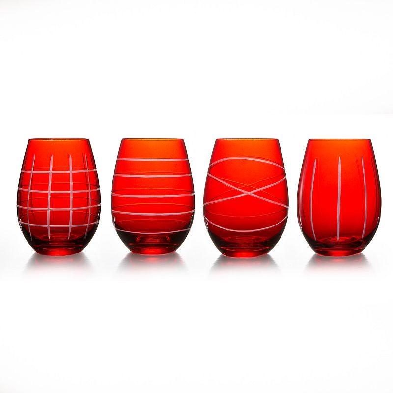 Fifth Avenue Crystal 4-pc. Stemless Wine Glass Set, Red