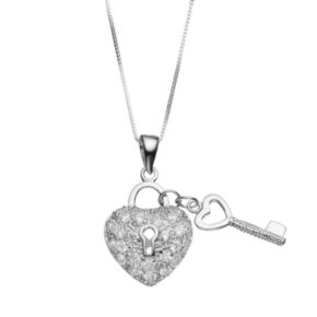 Journee Collection Cubic Zirconia Sterling Silver Heart Lock & Key Pendant Necklace