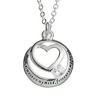 Silver Expressions by LArocks Cubic Zirconia Silver-Plated Mom Heart Pendant Necklace