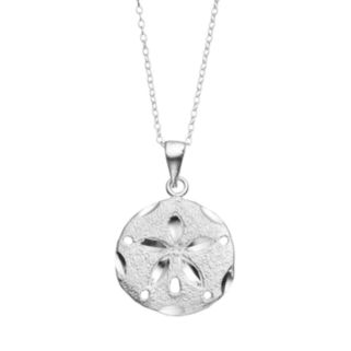 Journee Collection Sterling Silver Sand Dollar Pendant Necklace
