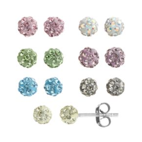 Crystal Silver-Plated Fireball Stud Earring Set