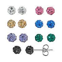 Crystal Silver-Plated Fireball Stud Earring Set