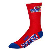 For Bare Feet Kansas Jayhawks Team Color Crew Socks - Adult