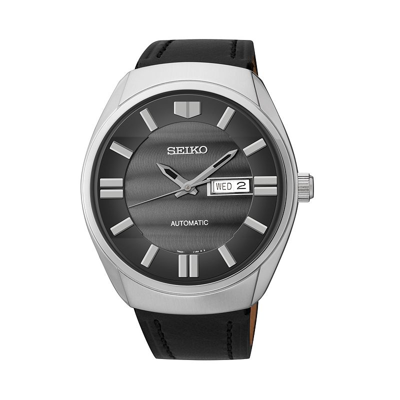 Seiko Men's Leather Automatic Watch - SNKN07