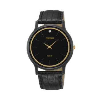 Seiko Men's Leather Solar Watch - SUP875