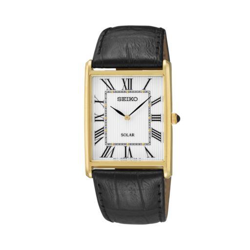 Seiko Men's Leather Solar Watch - SUP880