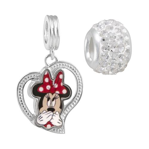 Disney Crystal Sterling Silver Minnie Mouse Heart Charm & Bead Set