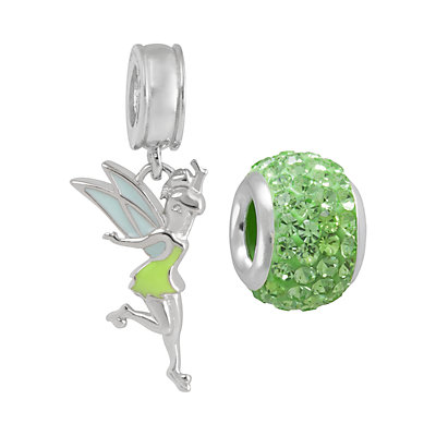 Disney Crystal Sterling Silver Tinkerbell Charm and Bead Set