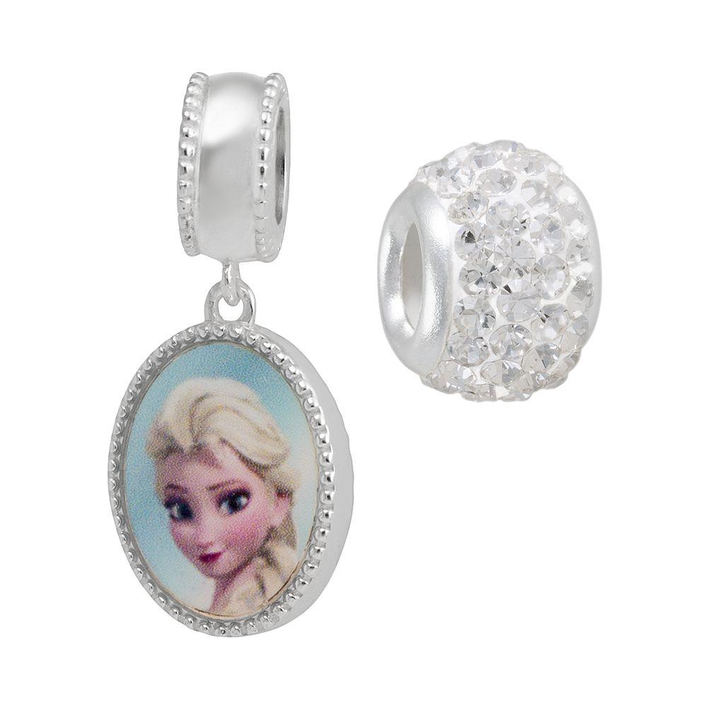 Disney's Frozen Crystal Sterling Silver Reversible Elsa & Anna Charm & Bead Set