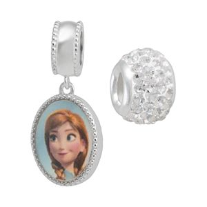 Disney's Frozen Crystal Sterling Silver Reversible Elsa and Anna Charm and Bead Set