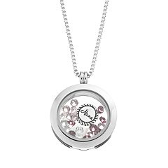 Blue La Rue Crystal Stainless Steel 1 in Round 'Nana' Charm Locket - Made with Swarovski Crystals