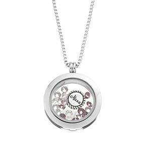 """Blue La Rue Crystal Stainless Steel 1-in. Round """"Nana"""" Charm Locket - Made with Swarovski Crystals"""