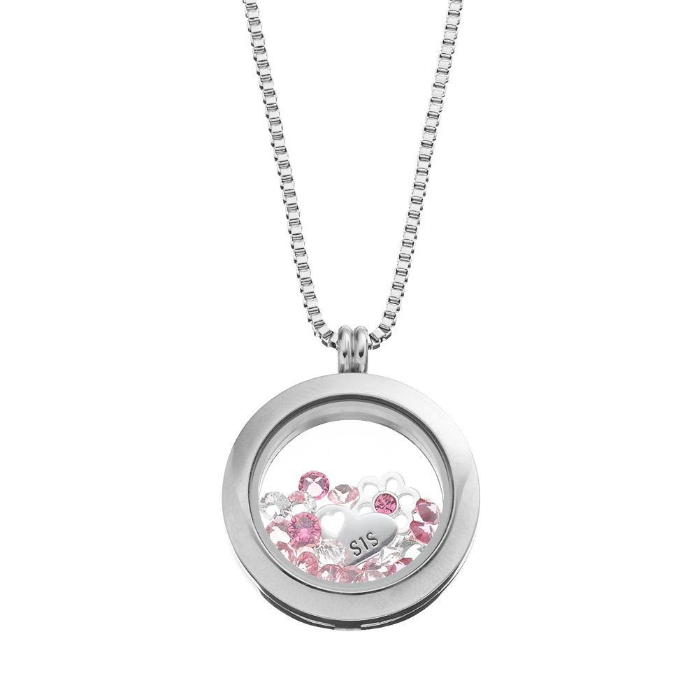 """Blue La Rue Crystal Stainless Steel 1-in. Round """"Sis"""" Charm Locket - Made with Swarovski Crystals"""