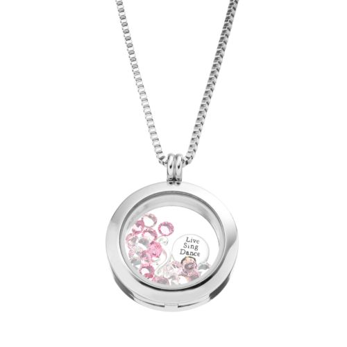 Blue La Rue Crystal Stainless Steel 1-in. Round Love Charm Locket - Made with Swarovski Crystals