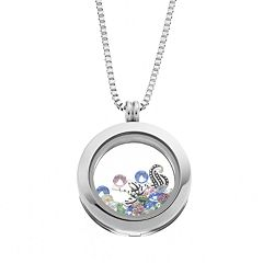 Blue La Rue Crystal Stainless Steel 1 in Round Sea Horse & Palm Tree Charm Locket - Made with Swarovski Crystals