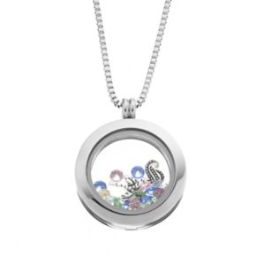 Blue La Rue Crystal Stainless Steel 1-in. Round Sea Horse and Palm Tree Charm Locket - Made with Swarovski Crystals