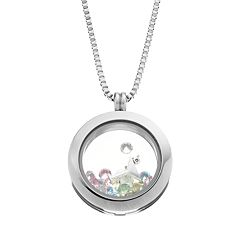Blue La Rue Crystal Stainless Steel 1 in Round Cocktail & Flip-Flop Charm Locket - Made with Swarovski Crystals