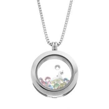 Blue La Rue Crystal Stainless Steel 1-in. Round Cocktail and Flip-Flop Charm Locket - Made with Swarovski Crystals
