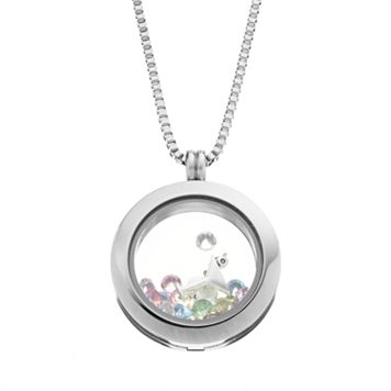Blue La Rue Crystal Stainless Steel 1-in. Round Cocktail & Flip-Flop Charm Locket - Made with Swarovski Crystals
