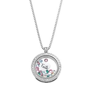"""Blue La Rue Crystal Stainless Steel 1-in. Round """"Faith"""" Charm Locket - Made with Swarovski Crystals"""