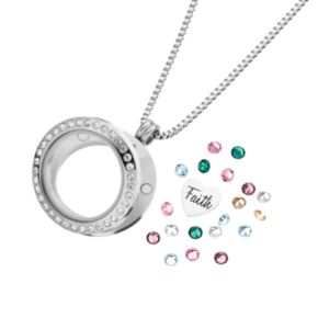 "Blue La Rue Crystal Stainless Steel 1-in. Round ""Faith"" Charm Locket - Made with Swarovski Crystals"
