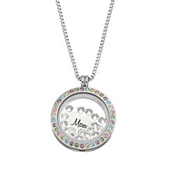 Blue La Rue Crystal Stainless Steel 1 in Round 'Mom' Charm Locket - Made with Swarovski Crystals