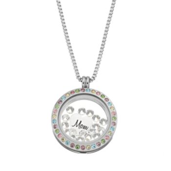 """Blue La Rue Crystal Stainless Steel 1-in. Round """"Mom"""" Charm Locket - Made with Swarovski Crystals"""