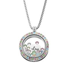 Blue La Rue Crystal Stainless Steel 1 in Round 'Love' Charm Locket - Made with Swarovski Crystals