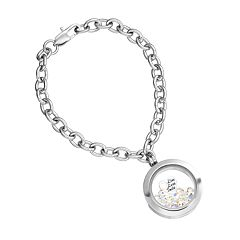 Blue La Rue Crystal Stainless Steel 1 in Round 'Live Love Smile' Charm Locket Chain Bracelet - Made with Swarovski Crystals