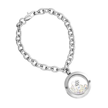 "Blue La Rue Crystal Stainless Steel 1-in. Round ""Live Love Smile"" Charm Locket Chain Bracelet - Made with Swarovski Crystals"