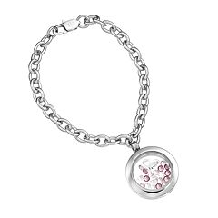 Blue La Rue Crystal Stainless Steel 1 in Round 'Family' Charm Locket Chain Bracelet - Made with Swarovski Crystals