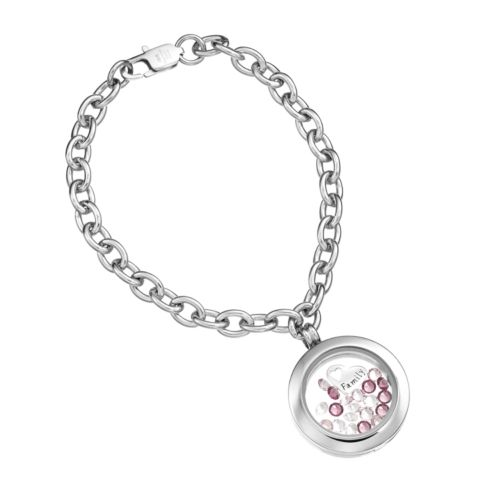 """Blue La Rue Crystal Stainless Steel 1-in. Round """"Family"""" Charm Locket Chain Bracelet – Made with Swarovski Crystals"""