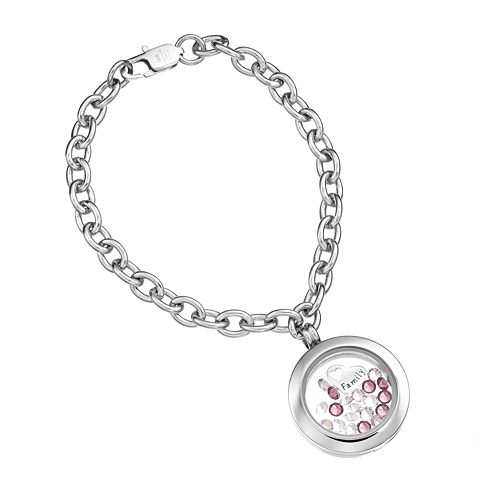 """Blue La Rue Crystal Stainless Steel 1-in. Round """"Family"""" Charm Locket Chain Bracelet - Made with Swarovski Crystals"""