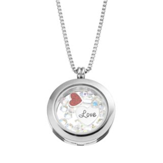 "Blue La Rue Crystal Stainless Steel 1-in. Round ""Love"" Charm Locket - Made with Swarovski Crystals"