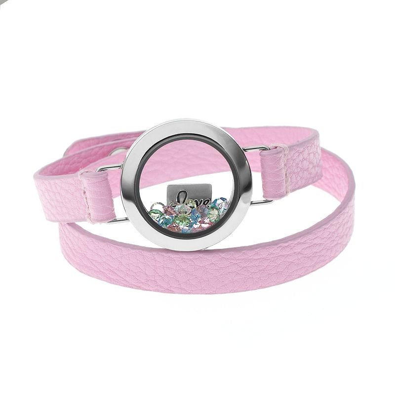 """Blue La Rue Crystal Stainless Steel 1-in. Round """"Love"""" Charm Locket Wrap Bracelet - Made with Swarovski Crystals, Women's, Pink"""