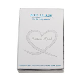 """Blue La Rue Crystal Stainless Steel 1-in. Round """"Love"""" Charm Locket Wrap Bracelet - Made with Swarovski Crystals"""