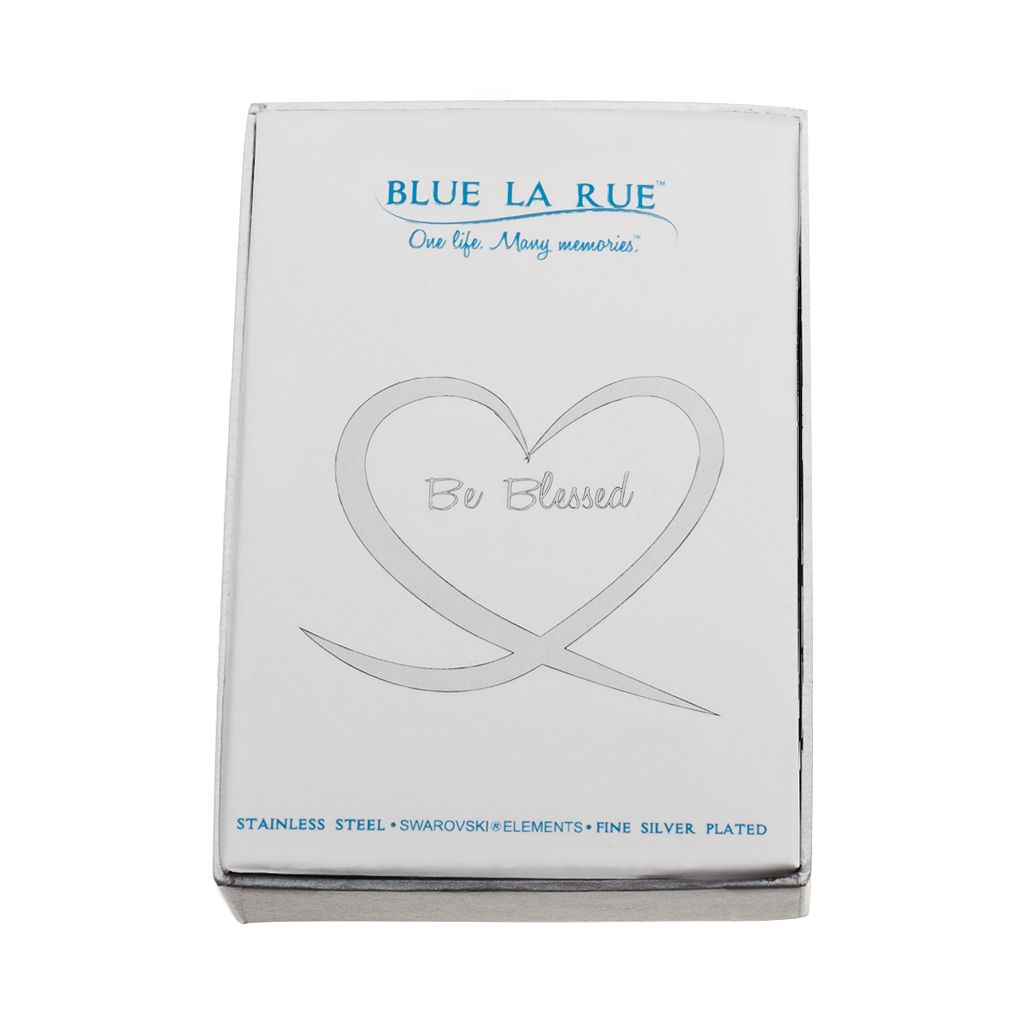 Blue La Rue Crystal Stainless Steel 1.2-in. Heart Cross Charm Locket - Made with Swarovski Crystals